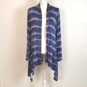 Blue Tie-Dye Open Front Cardigan Handkerchief Hem